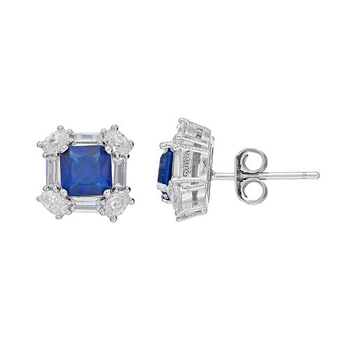 Sterling Silver Lab-Created Blue Spinel & Cubic Zirconia Cushion Halo Stud Earrings