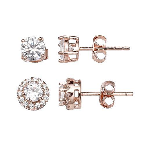 PRIMROSE Rose Gold Tone Sterling Silver Cubic Zirconia Stud Earring Set
