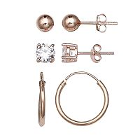 PRIMROSE Rose Gold Tone Sterling Silver Cubic Zirconia Stud, Ball & Hoop Earring Set