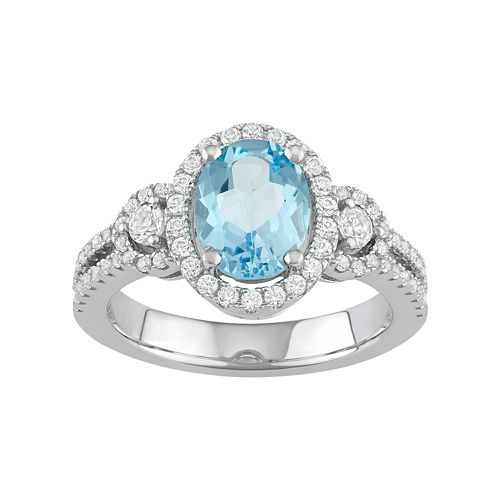 Sterling Silver Sky Blue Sapphire Halo Ring