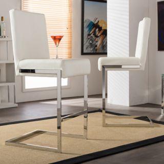 Baxton Studio Toulan Faux-Leather Counter Stool 2-piece Set
