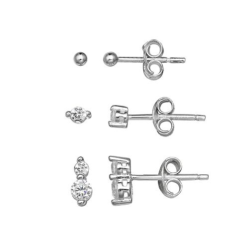 PRIMROSE Sterling Silver Cubic Zirconia Ball Stud & Drop Earring Set