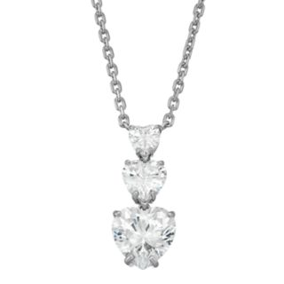 Sterling Silver Cubic Zirconia Graduated Three Heart Necklace
