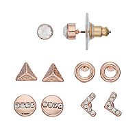 LC Lauren Conrad Pyramid, Chevron & Circle Nickel Free Stud Earring Set