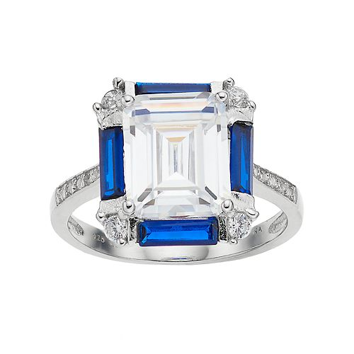 Sterling Silver Lab-Created Blue Spinel & Cubic Zirconia Ring