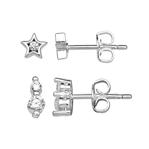 PRIMROSE Sterling Silver Cubic Zirconia Star Stud & Drop Earring Set