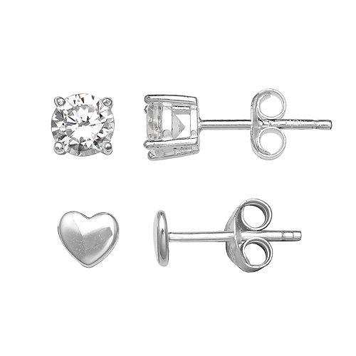 PRIMROSE Sterling Silver Cubic Zirconia Heart Stud Earring Set
