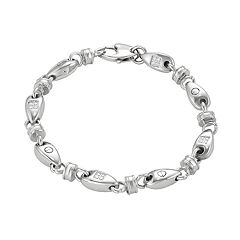 Men's Stainless Steel Cubic Zirconia Oval Link Bracelet
