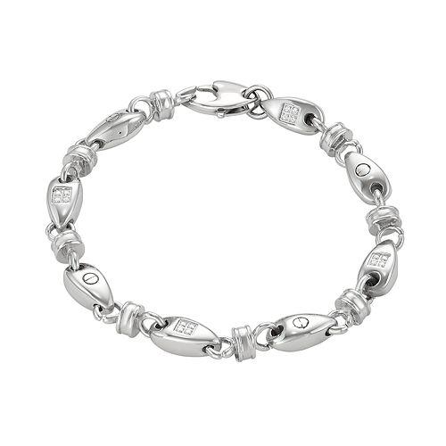 Men's Stainless Steel Cubic Zirconia Oval Link Bracelet