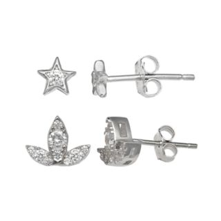 PRIMROSE Sterling Silver Cubic Zirconia Star & Lotus Flower Stud Earring Set