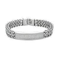 Men's Stainless Steel Cubic Zirconia Link Franco Chain Bracelet