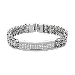 Men's Stainless Steel Cubic Zirconia Link Franco Chain Bracelet