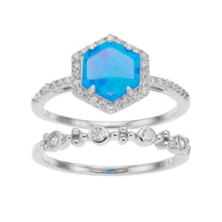 Sterling Silver Lab-Created Blue Opal & Cubic Zirconia Halo Hexagon Ring Set