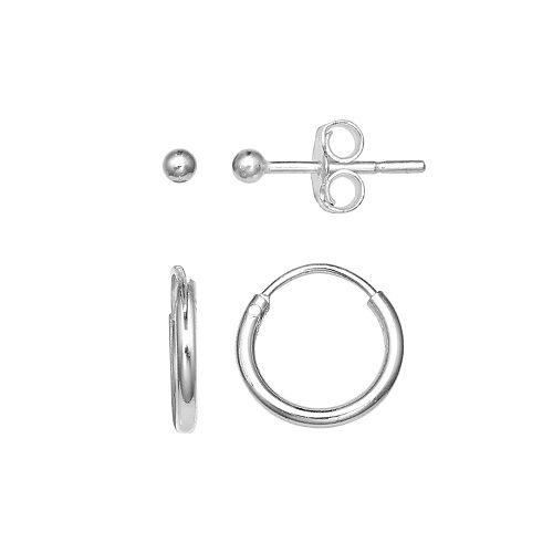 PRIMROSE Sterling Silver Ball Stud & Hoop Earring Set