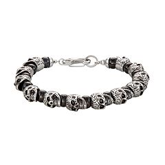 Men's Onyx Beaded Stainless Steel Skull Bracelet