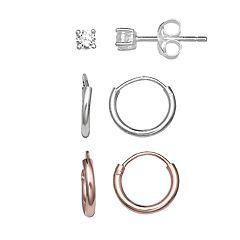 PRIMROSE Two Tone Sterling Silver Cubic Zirconia Stud & Hoop Earring Set