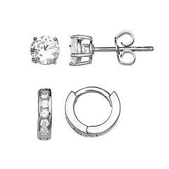 PRIMROSE Sterling Silver Cubic Zirconia Stud & Hoop Earring Set