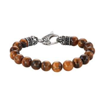 Men's Stainless Steel Tiger's Eye & Black Cubic Zirconia Beaded Bracelet