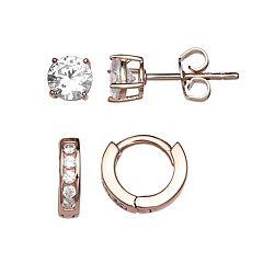 PRIMROSE Rose Gold Tone Sterling Silver Cubic Zirconia Stud & Hoop Earring Set