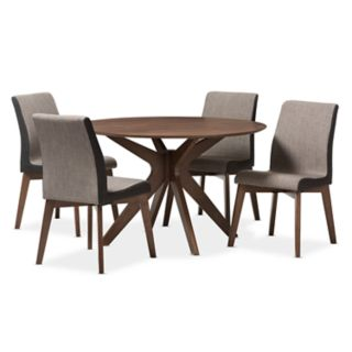 Baxton Studio Kimberly Mid-Century Round Dining Table & Chair 5-piece Set