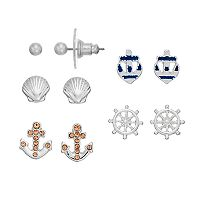 LC Lauren Conrad Seashell, Anchor & Ship Wheel Nickel Free Stud Earring Set