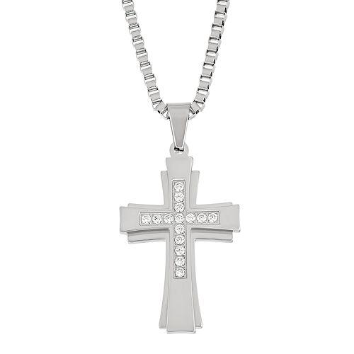 Stainless Steel Men's Cubic Zirconia Cross Pendant Necklace