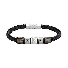 Men's Stainless Steel & Black Leather Black Cubic Zirconia Bracelet