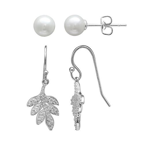 PRIMROSE Sterling Silver Simulated Pearl Stud & Cubic Zirconia Leaf Drop Earring Set