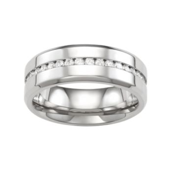 Men's Stainless Steel Cubic Zirconia Band