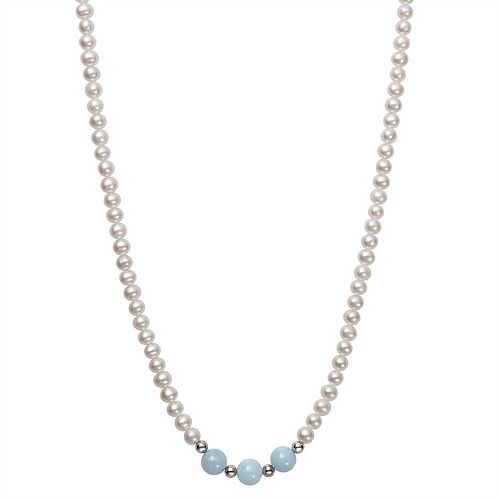 Sterling Silver Freshwater Cultured Pearl & Aquamarine Necklace