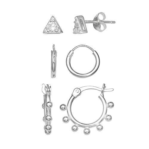 PRIMROSE Sterling Silver Cubic Zirconia Triangle Stud & Hoop Earring Set