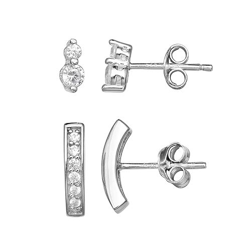 PRIMROSE Sterling Silver Cubic Zirconia Curved Bar & Drop Earring Set