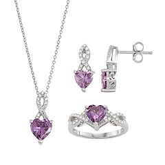 Sterling Silver Lab-Created Amethyst & Cubic Zirconia Heart Pendant, Earring & Ring Set