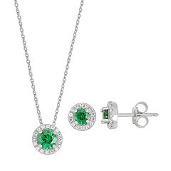Sterling Silver Simulated Emerald & Lab-Created White Sapphire Halo Pendant Necklace & Earring Set