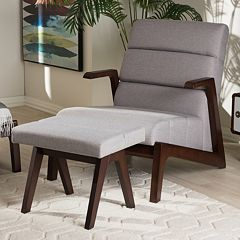 Baxton Studio Vino Mid-Century Arm Chair & Stool Set
