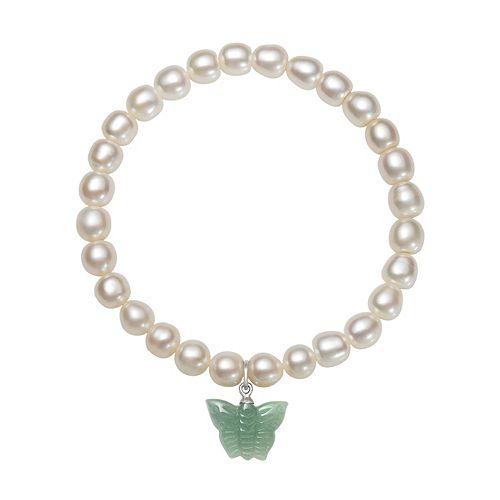 Sterling Silver Freshwater Cultured Pearl & Jade Butterfly Stretch Bracelet