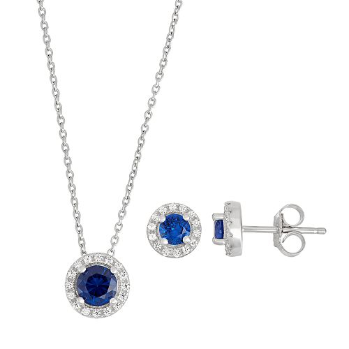 Sterling Silver Lab-Created Blue & White Sapphire Halo Pendant Necklace & Earring Set