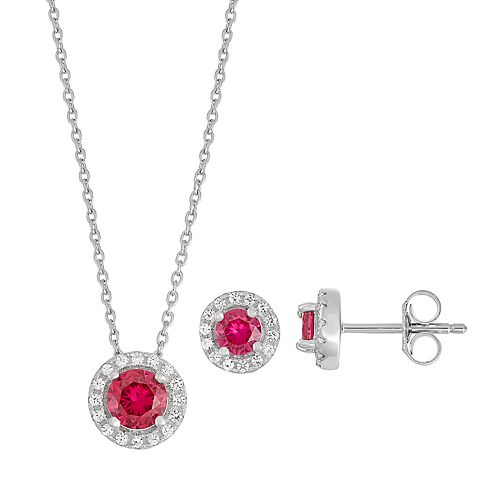 Sterling Silver Lab-Created Ruby & Lab-Created White Sapphire Halo Pendant Necklace & Earring Set