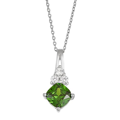 Sterling Silver Simulated Emerald & Lab-Created White Sapphire Pendant