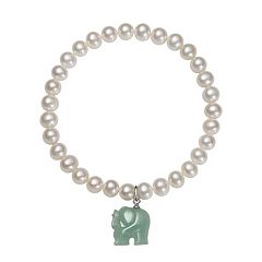 Sterling Silver Freshwater Cultured Pearl & Jade Elephant Stretch Bracelet
