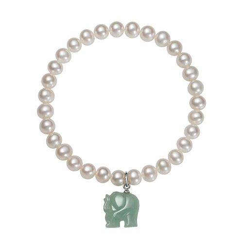Sterling Silver Freshwater Cultured Pearl & Jade Elephant Stretch Bracelet