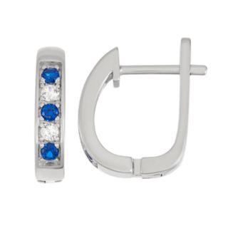 Sterling Silver Lab-Created Blue & White Sapphire U-Hoop Earrings