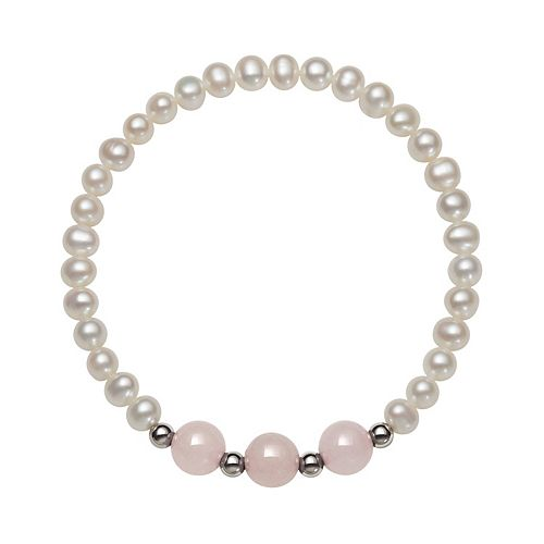 Sterling Silver Freshwater Cultured Pearl & Rose Quartz Stretch Bracelet