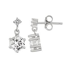 Sterling Silver Lab-Created White Sapphire Double Drop Earrings