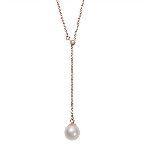 14k Rose Gold Over Silver Freshwater Cultured Pearl Lariat Necklace