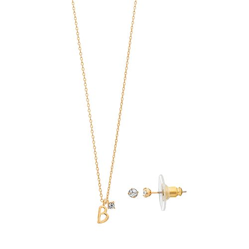 LC Lauren Conrad Monogram Pendant Necklace & Stud Earring Set