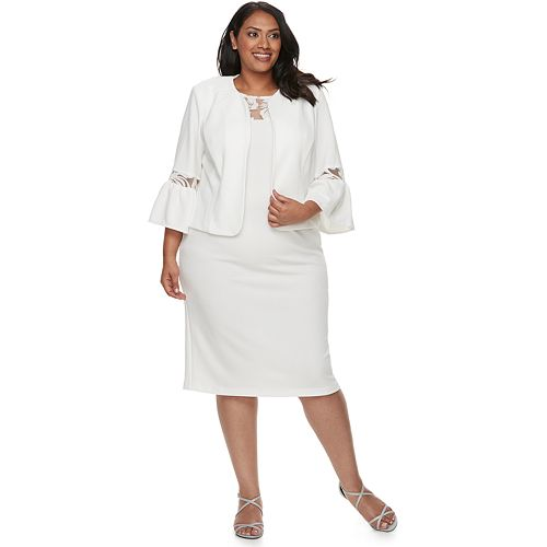 2cebda8de6c Plus Size Maya Brooke Bell Sleeve Jacket   Dress Set