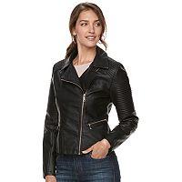 Women's Apt. 9® Textured Faux-Leather Moto Jacket
