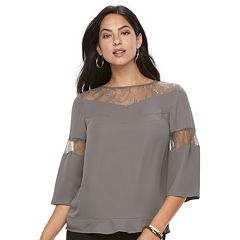 Women's Apt. 9® Lace-Trim Bell Sleeve Top