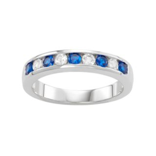 Sterling Silver Lab-Created Blue & White Sapphire Wedding Ring